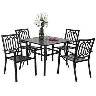 Link to Phi Villa 4 Piece Black Metal Outdoor Furniture Patio Steel Frame Slat Seat Dining Arm Chairs with Angle Back Similar Items in Dining Room & Bar Furniture