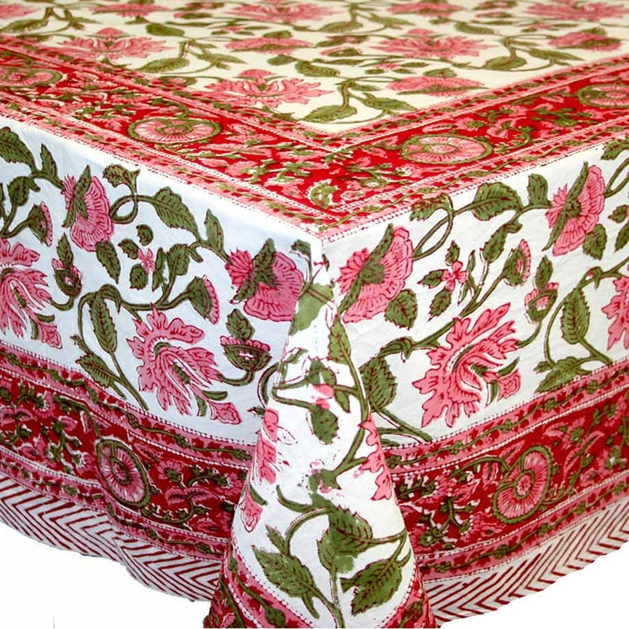 Handmade Lotus Flower Block Print Round Tablecloth Rectangular Cotton Red, 60x60 Square, 60x90 Rectangle, 72 Inch Round - Thumbnail 2