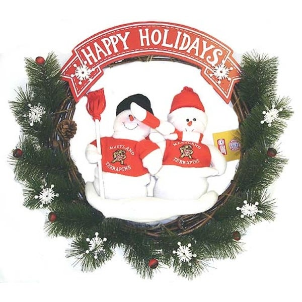 "20"" NCAA Maryland Terrapins Snowmen Couple Artificial Christmas Wreath - Unlit - green"