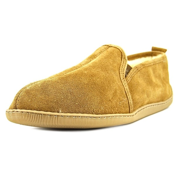 Minnetonka Twin Gore Sheepskin Men Round Toe Suede Tan Loafer