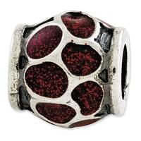 Italian Sterling Silver Reflections Red Enamel with Sparkles Bead