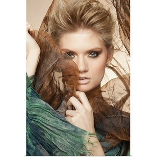 """""""Portrait of young woman holding flowing textiles"""" Poster Print"""