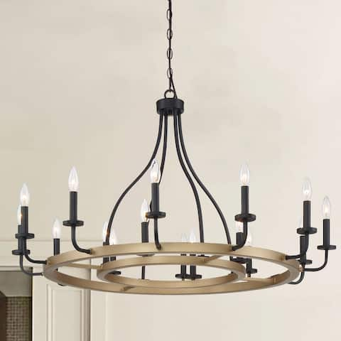 "16 Light candle style Wagon Wheel Chandelier - 41.34""x 41.34""x 24.6"""