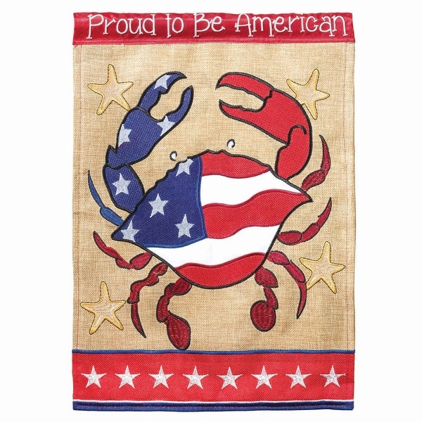 """42"""" x 29"""" American Flag Crab """"Proud To Be American"""" Garden Flag - N/A"""