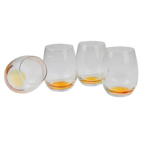 "Set of 4 Golden Bottom Glass Stemless Glasses 4.25"" - N/A"