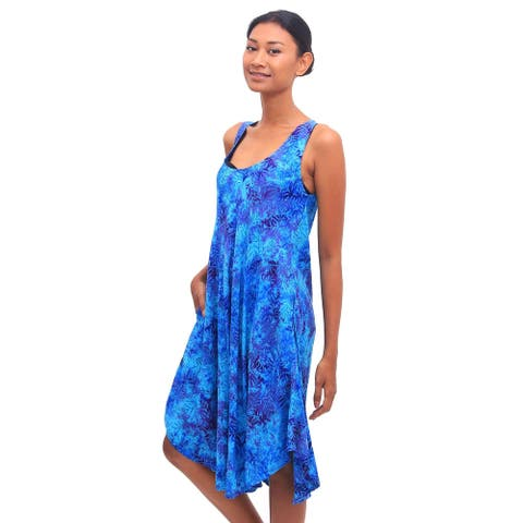 NOVICA Leafy Grove Batik rayon dress