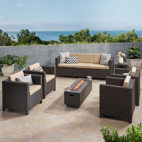Hegseth 7 Seater Wicker Chat Set with Fire Pit by Christopher Knight Home