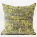 "G Home Collection Luxury Lemon Yellow Mix Color Metallic Chenille Pillow 22""X22"" - Thumbnail 0"