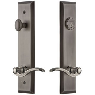 Grandeur FAVBEL_TP_ESET_234_RH  Fifth Avenue Solid Brass Tall Plate Single Cylinder Keyed Entry Set with Bellagio Lever and
