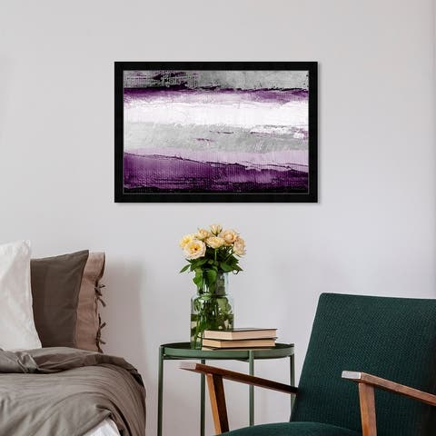 Oliver Gal 'Envision and Elevate Violet' Abstract Wall Art Framed Print Paint - Purple, Gray