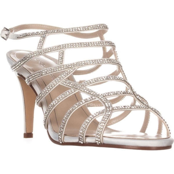 Caparros Harmonica Embellished Caged Evening Sandals, Ivory Satin