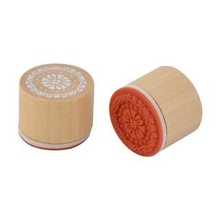 Home Wooden Flower Pattern Decor DIY Diary Scrapbook Signet Stamper Beige 2 Pcs