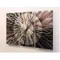 Statements2000 Silver / Charcoal 38-inch Abstract Metal Panel Wall Clock - Obsidian Burst - Thumbnail 5