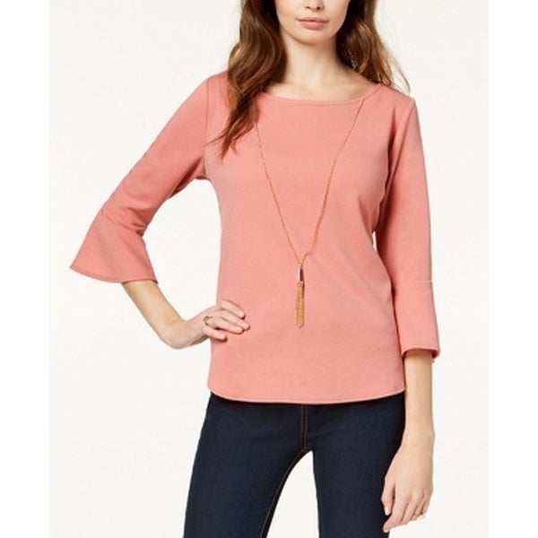 BCX Medium Junior Bell-Sleeve Necklace Boat-Neck Blouse