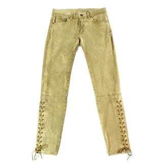 Polo Ralph Lauren NEW Brown Women's Size 26X27 Skinny Lace Up Jeans