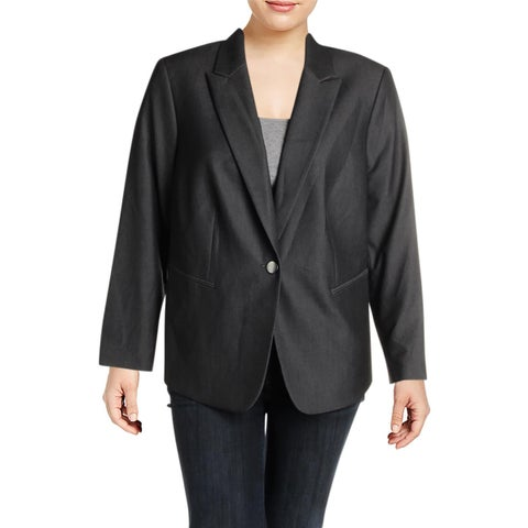 Tahari ASL Womens Plus One-Button Suit Jacket Professional Business Wear