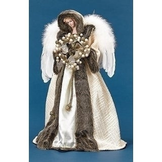 """17.5"""" Ivory and Faux Fur Angel with Wreath Christmas Tree Topper - Unlit - White"""