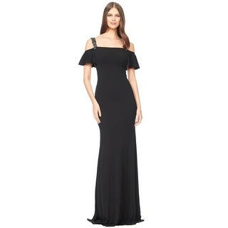 David Meister Cold Shoulder Beaded Jersey Evening Gown Dress