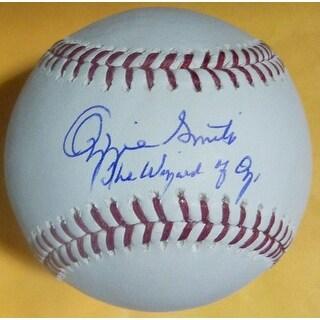 Ozzie Smith Autographed St Louis Cardinal OML Baseball Wizard JSA