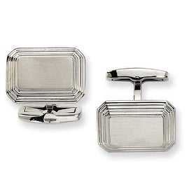 Chisel Cut Cornered Rectangle Stainless Steel Cuff Links