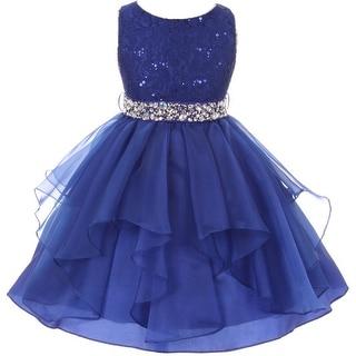 Flower Girl Dress Sequin Lace Top Ruffle Skirt Royal MBK 357