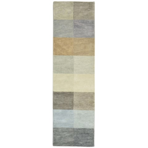 """One of a Kind Hand-Tufted Modern & Contemporary 8' Runner Geometric Wool Grey Rug - 2'1""""x7'10"""""""