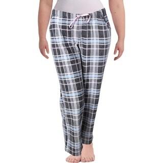 Nuit Rouge Womens Long Pajama Bottoms Fleece Plaid