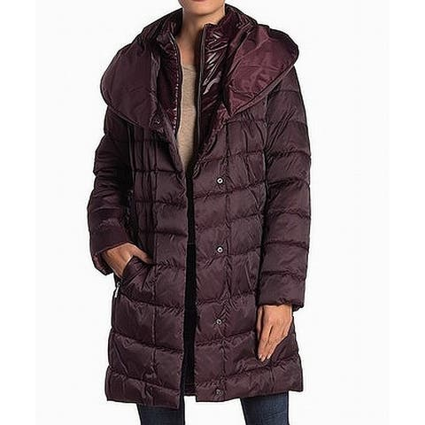 Kenneth Cole Purple Womens Size XS Hooded Puffer Quilted Long Coat