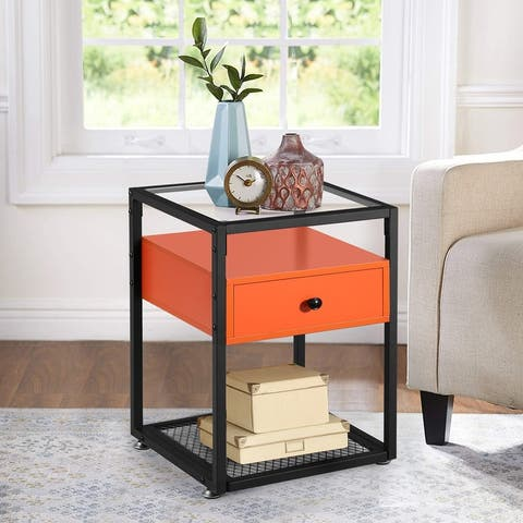 VECELO Bedside/Nightstands Tempered Glass Table with 1-drawer (6 Color Options)