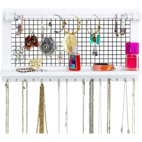 Home Decor Jewelry Stand Wall Mounted Shelf With Detachable Bracelet Bar