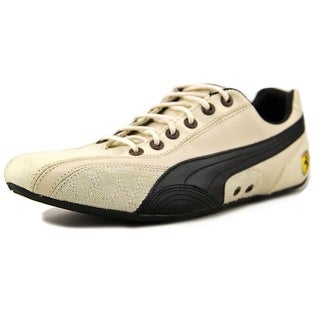 Puma Ferrari Supersqualo Lo Women Round Toe Suede Ivory Sneakers