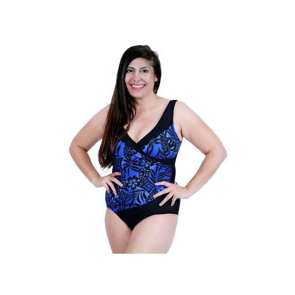 Cross Front One Piece Swim in Blue and Black