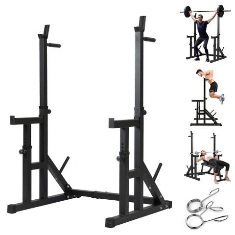Multi-function Barbell Rack Home Gym Fitness Adjustable Squat Rack Weight Lifting Bench - 43.3 In. L X 34.8 In. W X 60.6 In. H