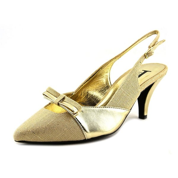 J. Renee J0006 Women Pointed Toe Synthetic Gold Slingback Heel