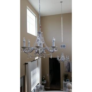 Crystorama Sutton 6-light Antique White/ Crystal Chandelier