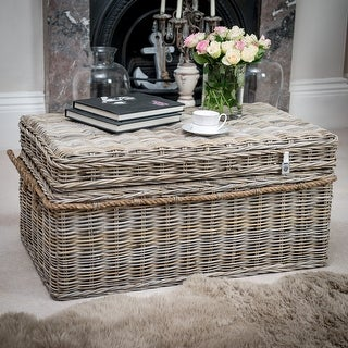 Link to Key Largo Natural Grey Kubu Rattan Storage Coffee Table With Lid Similar Items in Living Room Furniture