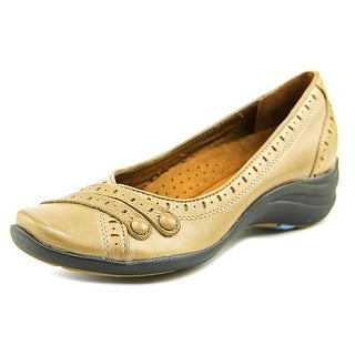 Hush Puppies Burlesque Women W Round Toe Leather Tan Flats