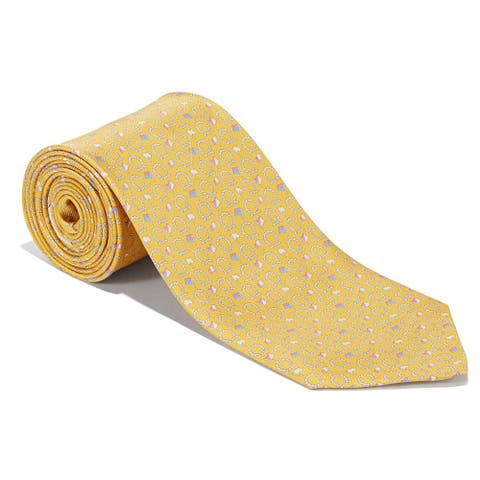 Salvatore Ferragamo Mens Yellow Flag Gancini Neck Tie