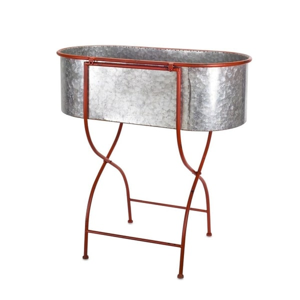 Shop 29 Grey And Candy Red Galvanized Oval Wash Tub On X Shaped