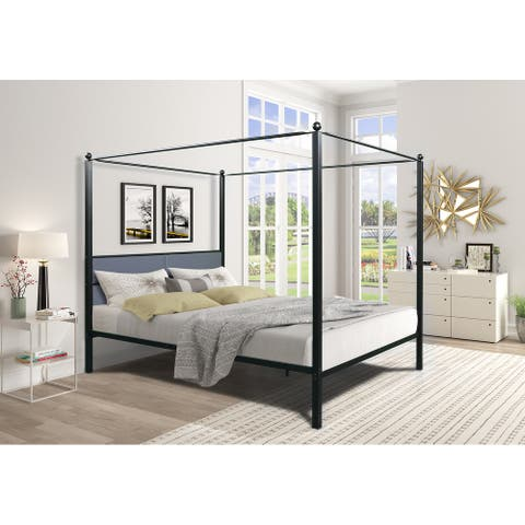 Metal Upholstered Bed Frame with Four Posters - Black