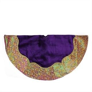 "48"" Regal Peacock Purple Velvet with Gold Flourish Two-Tone Metallic Border Christmas Tree Skirt"