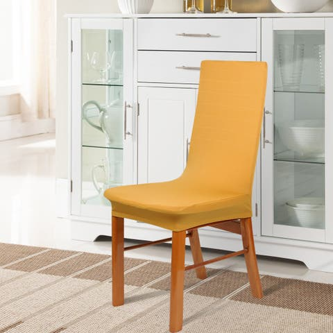 Unique Bargains Spandex Stretch Dark Yellow Dining Chair Cover - Dark Yellow