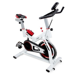 AKONZA Stationary Bike with Water Bottle Holder, Cardio Heart Pulse Exercise Bike Belt Driven Indoor Cycling Bike, White
