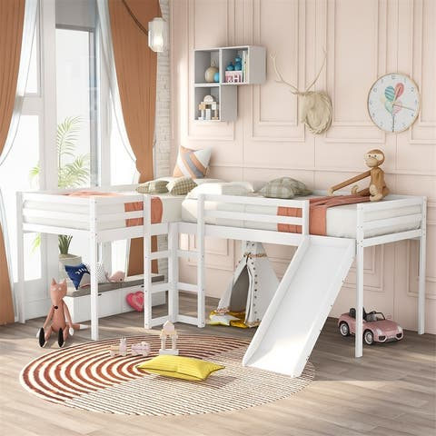 Merax L-Shaped Twin Loft Bed with Ladders and Slide