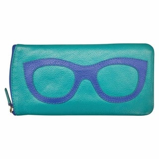 "Women's Leather Eyeglasses Case - Zipper Close - 7"" x 4"" - One size (Option: purple with amethyst)"