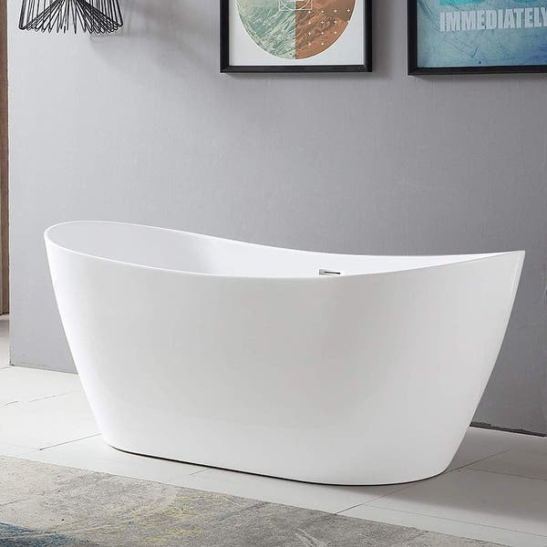 Vanity Art White Acrylic 71 Inch Freestanding Soaking Bathtub Overstock 12365362