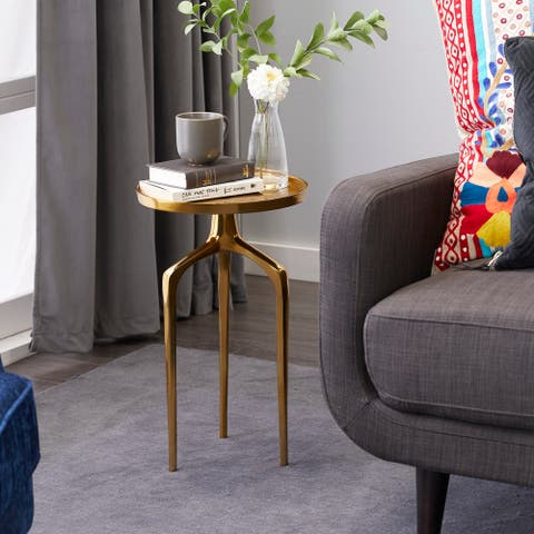 Gold Aluminum Contemporary Accent Table 22 x 13 x 13
