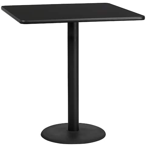"Dyersburg 42'' Square Black Laminate Table Top w/42"" High Round Base"