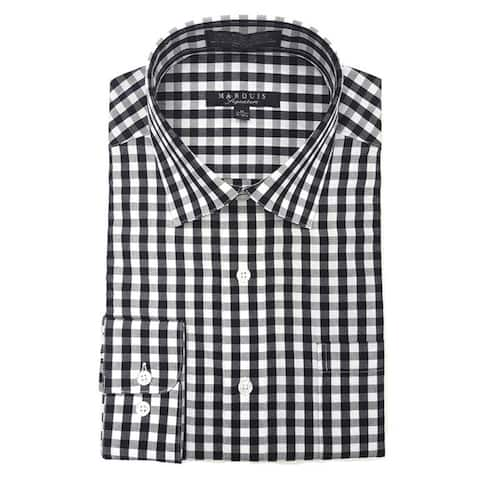 Marquis Men's Gingham Checkered Long Sleeve Modern Fit Shirt, Size - S To 3XL