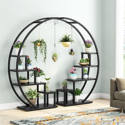 Couple 5-Tier Plant Stand , Curved Display Shelf With Hooks